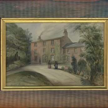 Watercolour painting of a Georgian house, signed and dated 1839