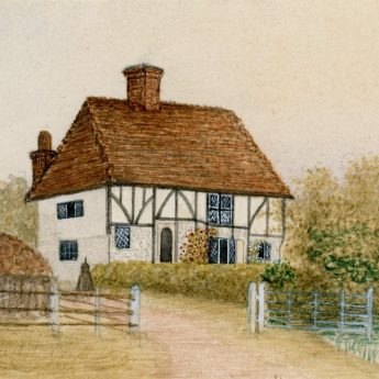 Victorian watercolour of Little Criol, a half-timbered house