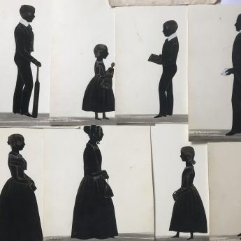 A family group of cut silhouettes by Samuel Metford of the Fry family of Culmstock, Devon together with miscellaneous family papers including a Quaker marriage certificate
