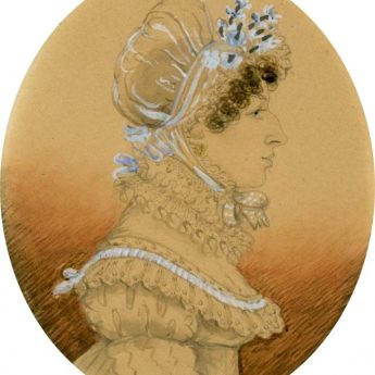 Miniature watercolour profile of a lady painted by James H. Gillespie