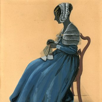 Colourful painted and gilded silhouette of a lady sewing