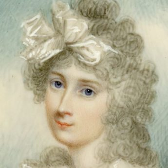 Miniature portrait of a young lady set in a gold frame with enamel and seed pearl surround, attributed to Scottish artist Archibald Skirving