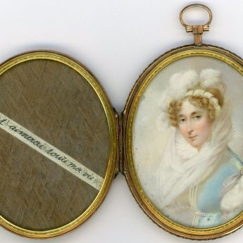 Romantic French miniature portrait of a lady
