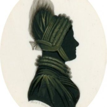 Small silhouette painted on ivory of a lady set within a travelling case