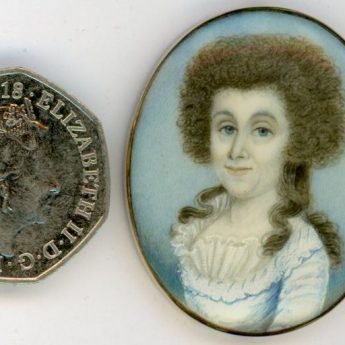Miniature portrait of a Georgian lady painted by William Read, circa 1780