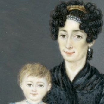 French portrait miniature of Madame Crepin-Gys and her two children dated 1828