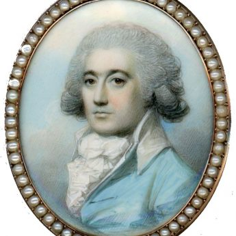 Miniature portrait of a gentleman in a turquoise coat painted by George Engleheart