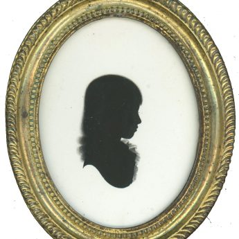 Silhouette of a named girl painted on plaster by John Miers