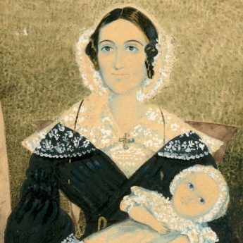 Watercolour portrait of a mother with her very young baby