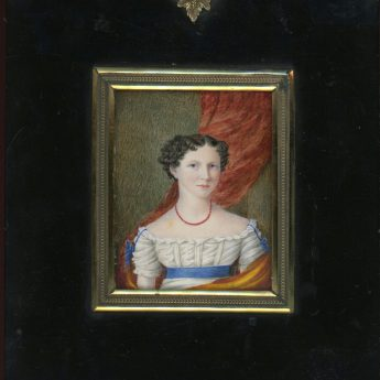 Miniature portrait of a young ldy wearing an orange wrap