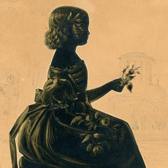 Cut and gilded silhouette of the Synge children, circa 1845