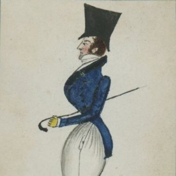 Quirky watercolour profile of a foppish gentleman