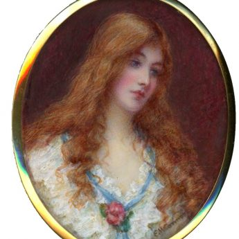 Miniature portrait of a red-haired beauty painted by Edith Margaret Cannon