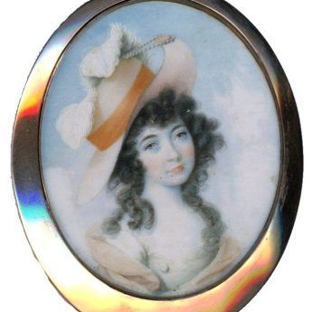 Miniature portrait of a young lady in a splendid straw bonnet trimmed with feathers painted by John Donaldson