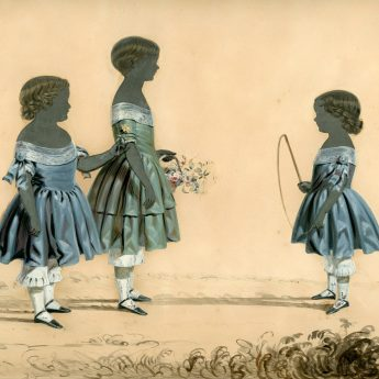 Cut and painted silhouette heightened with colour of three children