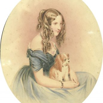 Watercolour portrait of a young lady with a puppy on her lap