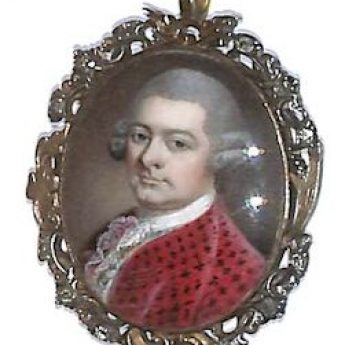 Miniature portrait of a gentleman in a red coat attributed to James Scouler