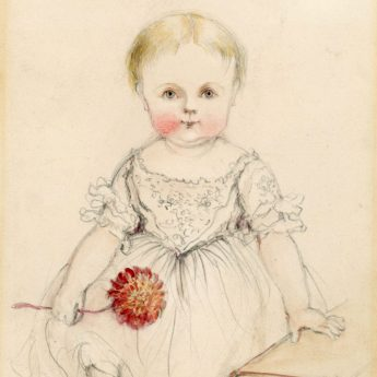 Delicate drawn watercolour portrait of a child by Ainsworth