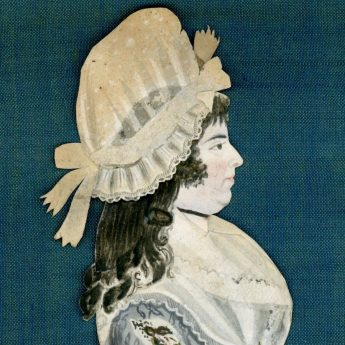 Watercolour and cut paper profile of a lady