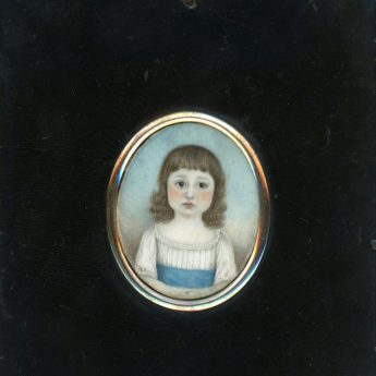Georgian miniature portrait of a solemn child