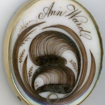 Hair work pendant in memory of Ann Ward
