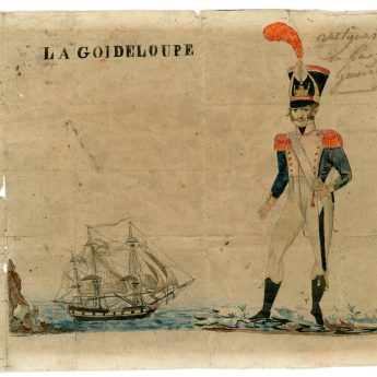 French watercolour of an infantryman on Guadeloupe
