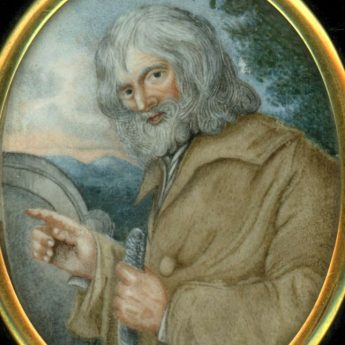 Miniature portrait of a hermit or vagrant