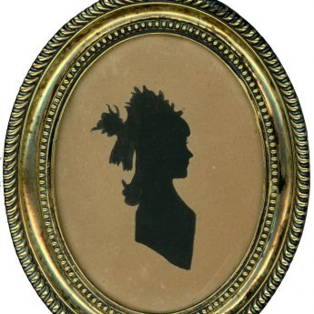 Painted silhouette of Jane Green as a child