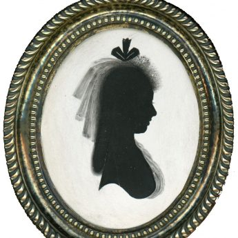 Silhouette painted on plaster by Mrs Lightfoot