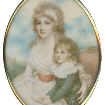 Miniature portrait of a young Georgian lady with her young son