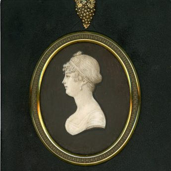 Cameo silhouette painted on ivory by Jacob Spornberg