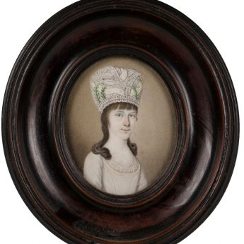 Miniature portrait of a young lady in a striking hat