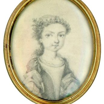 Plumbago portrait of a young lady by Thomas Worlidge