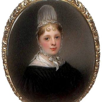 Miniature portrait of a young Quaker lady by Frances Hargreaves