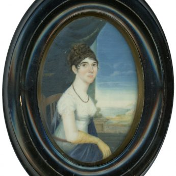 Miniature portrait of a young lady seated on a balcony