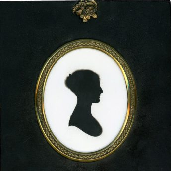 Silhouette of a lady painted on plaster by John Miers