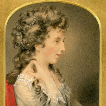 Watercolour portrait of Miss Bacon painted in 1813 by George Perfect Harding