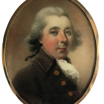 Miniature portrait of a ruddy-cheeked gentleman by Abraham Daniel