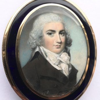 Miniature portrait of a gentleman understood to be Chas Minicowe painted by George Engleheart