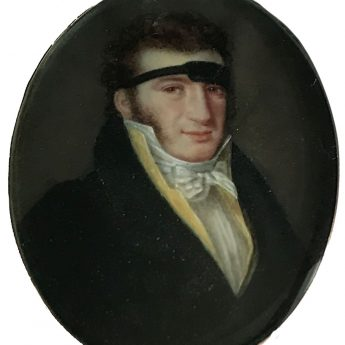 Miniature portrait of a gentleman wearing an eyepatch