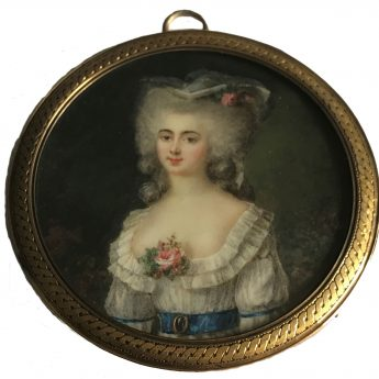 Miniature portrait of a lady in agaren attrib to Peter Adolf Hall