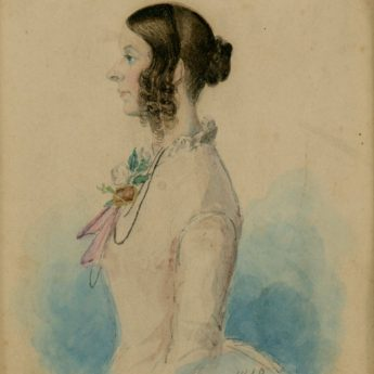 Watercolour profile of a lady by Howie, 1848