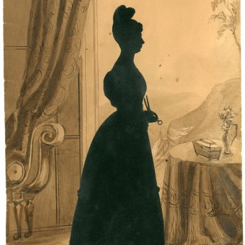 A pair of cut full-length silhouettes of sisters by Augustin Edouart
