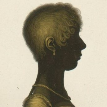 John Field gilded silhouette of a young lady with trade label reverse