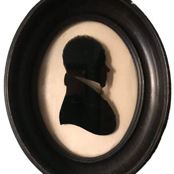 Silhouette reverse painted on glass by William Rought