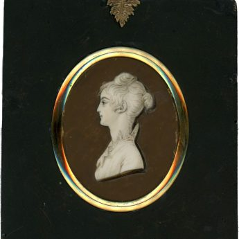 Painted profile of a young lady by Jacob Spornberg