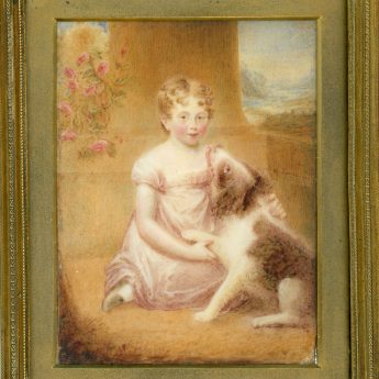 Miniature portrait of a child and dog by Anne Charlotte Turnbull