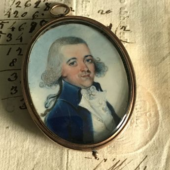 French School, miniature portrait of a gentleman with flyaway hair