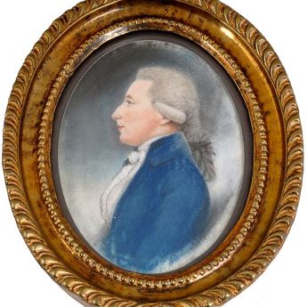 Pastel profile of a gentleman by Charles Hayter, dated 1786