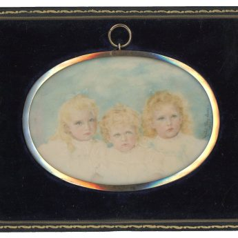 Miniature portrait of two girls and their little brother by Mabel Terry Lewis, 1896